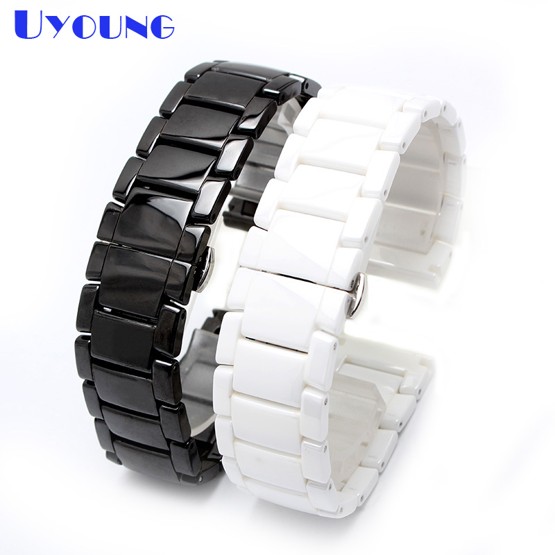 High Quality Ceramic Watchband 22mm strap wristwatches band white black not fade watch accessories Butterfly buckle 22mm new watchbands high quality ceramic watchband black diamond watch fit ar1406 man watches bracelet watch strap watchband
