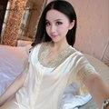 На складе износ сна для женщин сексуальные пижамы кружева с цветочным узором v шеи домашней одежды с коротким рукавом пижамы набор с луком дизайн