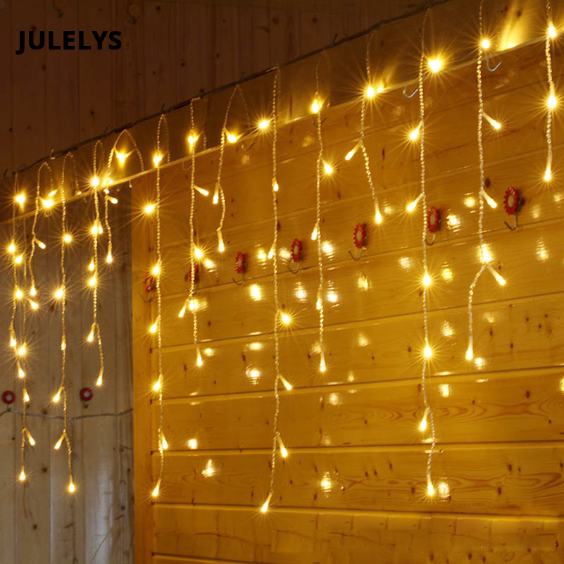 JULELYS 8 0 5 192 Bulbs LED Curtain String Light Christmas Garland Window Outdoor LED Lights Decoration For Wedding Holiday in LED String from Lights Lighting