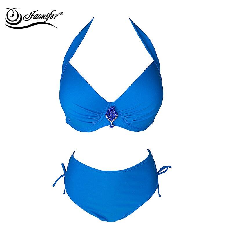JAONIFER 2018 Women Plus Size Bikini High Waist Swimsuit Push up Bikinis Set Swimming Suits Bathing suit Swimwear Beachwear