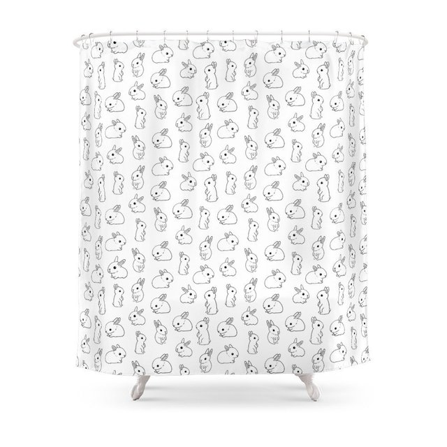 Funny Tiny Bunny Shower Curtain Waterproof Polyester Fabric Bathroom Decor Multi Size Printed With 12 Hooks