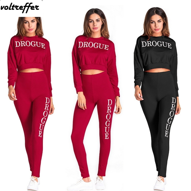 Letter Print Two Piece Tracksuit For Women Casual Outfits Sweatsuit