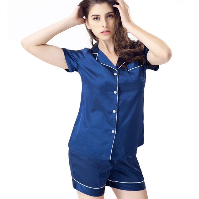 42cb64eef0 women s summer short sleeve blouse and shorts satin pajamas suits button up  nightgown pjs