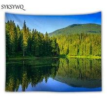 Голубое озеро гобелен зеленый лес природа висеть стены домашнего декора спальни Новое поступление настенный гобелен из ткани