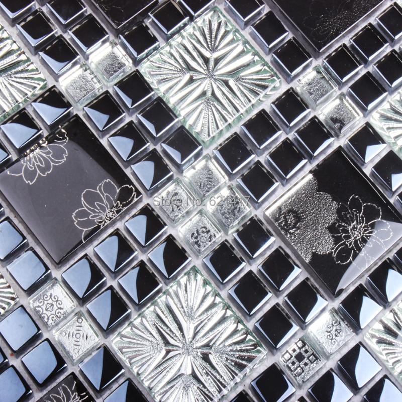 Fleur Unique Dessin Art Noir Mixte Gris Carreaux De Mosaïque