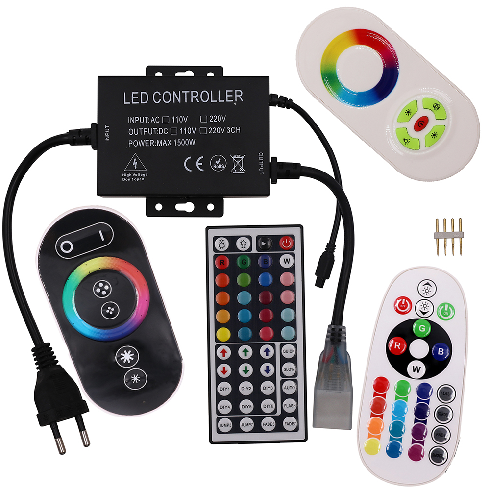 220V 110V Led RGB strip Light controller Full touch 44key 23key 24 key IR remote dimmer control 1500W US EU plug 8MM 10MM 12MM 110v 220v 1500w rgb controller led dimmer 5key rf touch remote control eu plug us plug free shipping