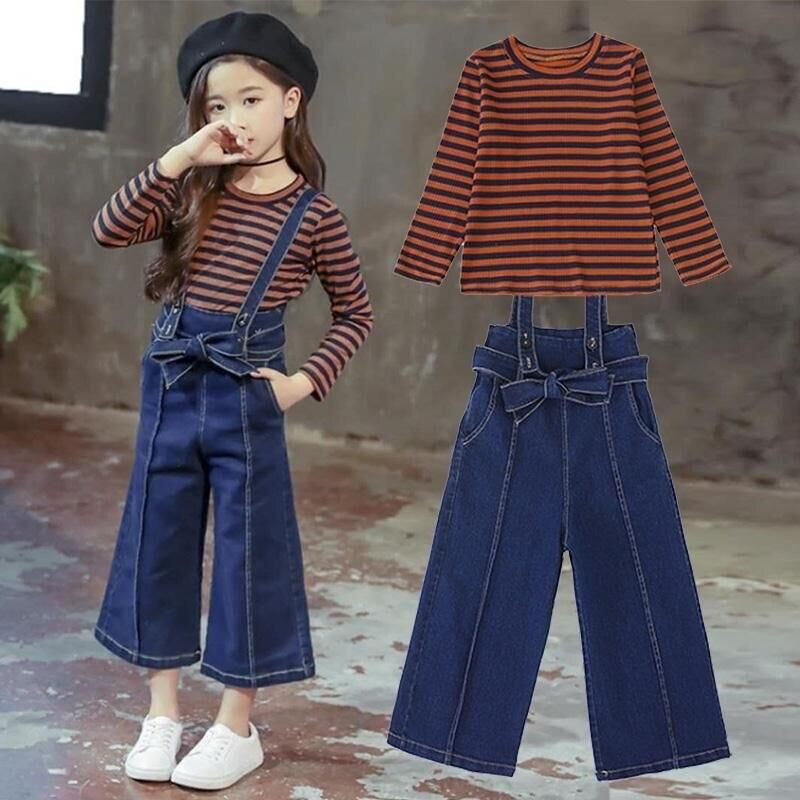 2019 printemps enfants mode filles vêtements ensembles 2 pièces rayé T-shirts + combinaisons pantalons ensemble pour adolescentes vêtements ensembles 10 12 T