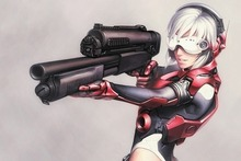 anime girls big gun futuristic white hair  Home Decoration Canvas Poster