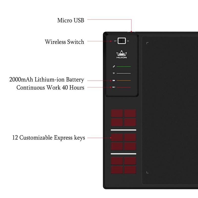 HUION Giano WH1409 Tableta digital inalámbrica Gráficos - Periféricos de la computadora - foto 4