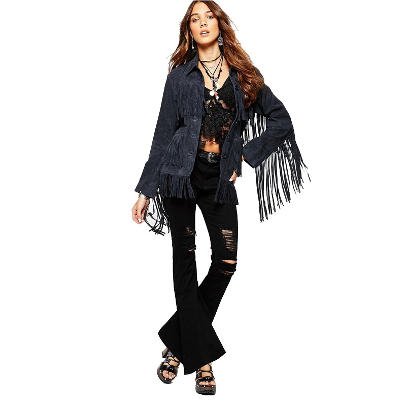 2015 Fashion Autumn Winter Women Jacket Europe Luxury Tassel Suede Jacket Stitching Single Breasted Coat Female Outwear JT257 (4)