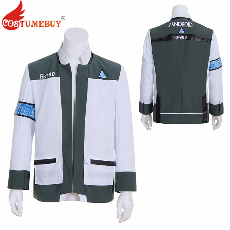 Costumebuy Game Detroit Become Human Cosplay Connor RK900 Agent Suit Uniform Costume  Jacket Coat Tops For Adult Mens Women