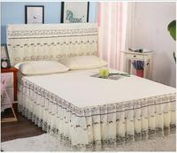 Free shipping 3pcs Lace edge Pure Color Patchwork Bedskirt set Princess Bed Cover and Pillowcase Home Textile Bedspread