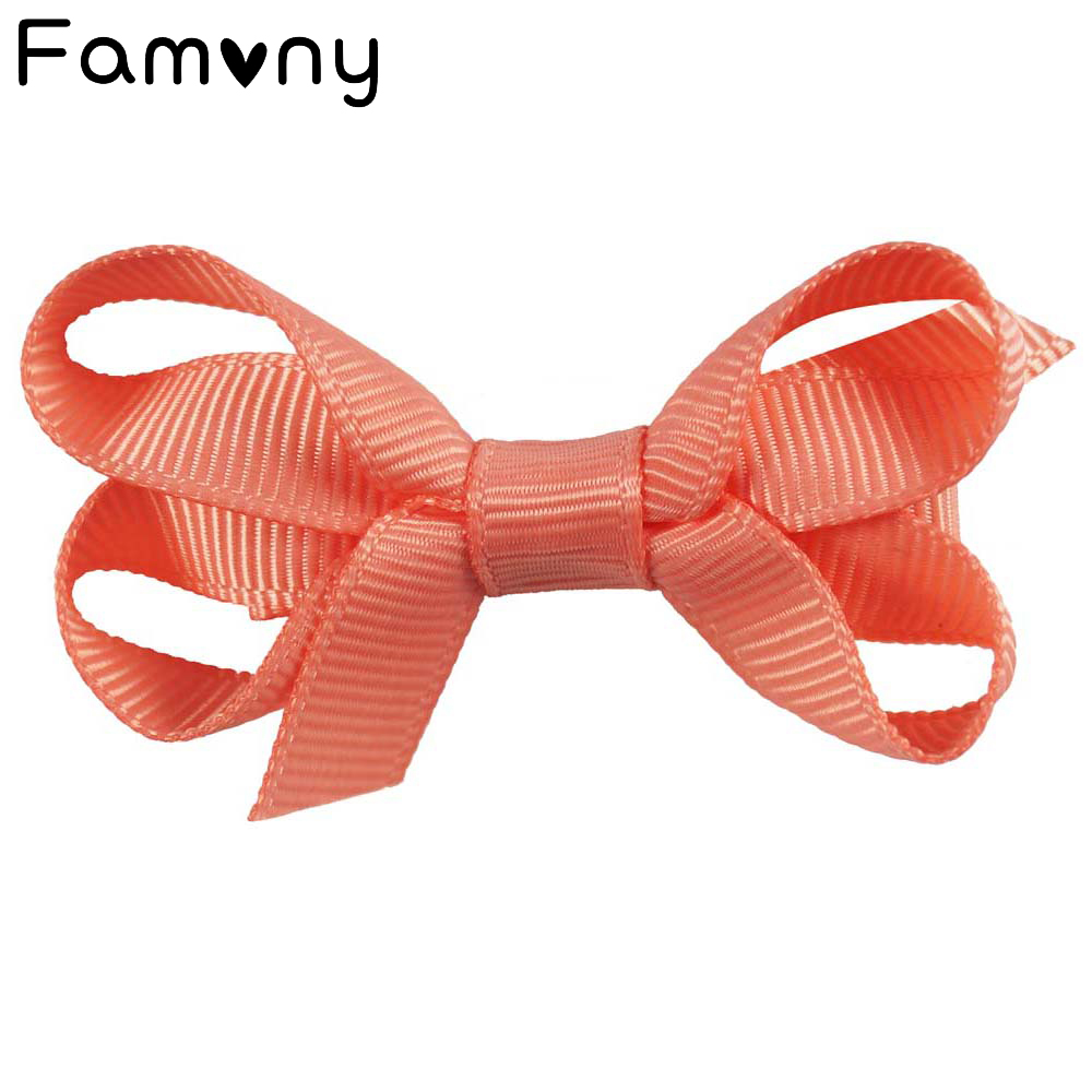 4Pcsset 2 Plain Ribbon Bows With Ribbon Covered Hair Clips For Kids Girls Mini Hair Bows Hairgrips Hairpins Hair Accessories