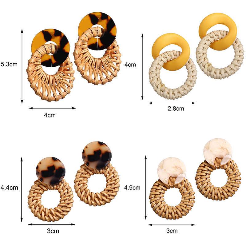 새로운 패션 스타일 드롭 귀걸이 여자 여자 파티 해변 독특한 라운드 쥬얼리 광장 기하학 한국어 1 쌍 등나무 니트 귀걸이