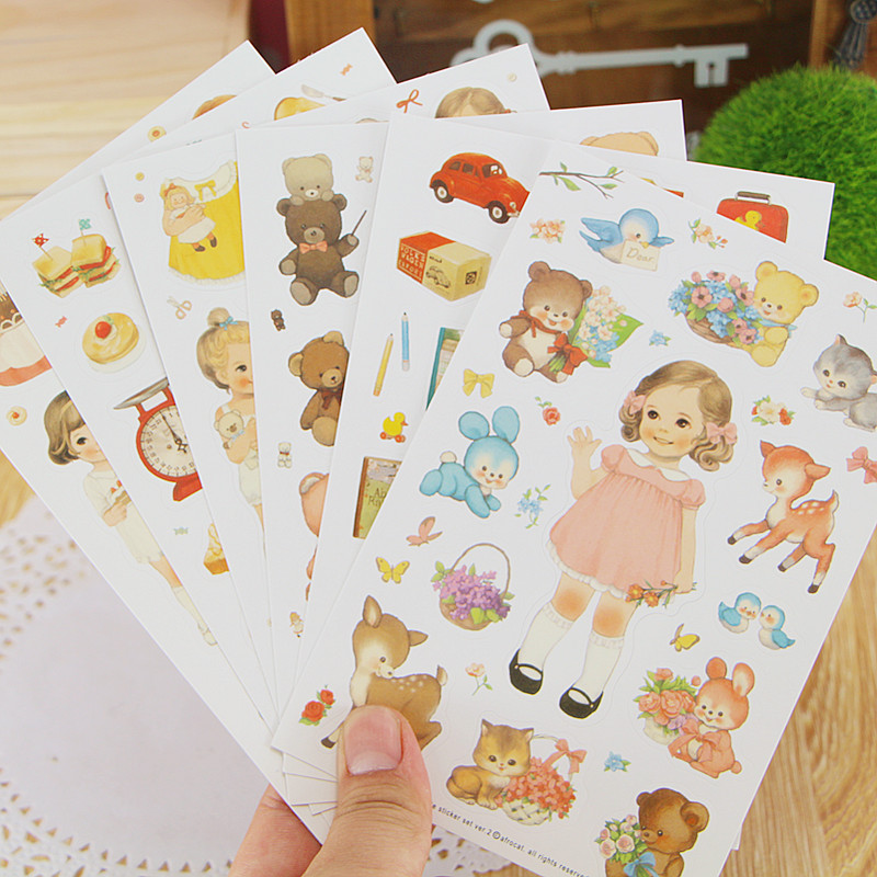 6sheets/lot DIY Cute Kawaii Paper Decorative Sticker Lovely Doll Stickers For Scrapbooking Diary Student 592