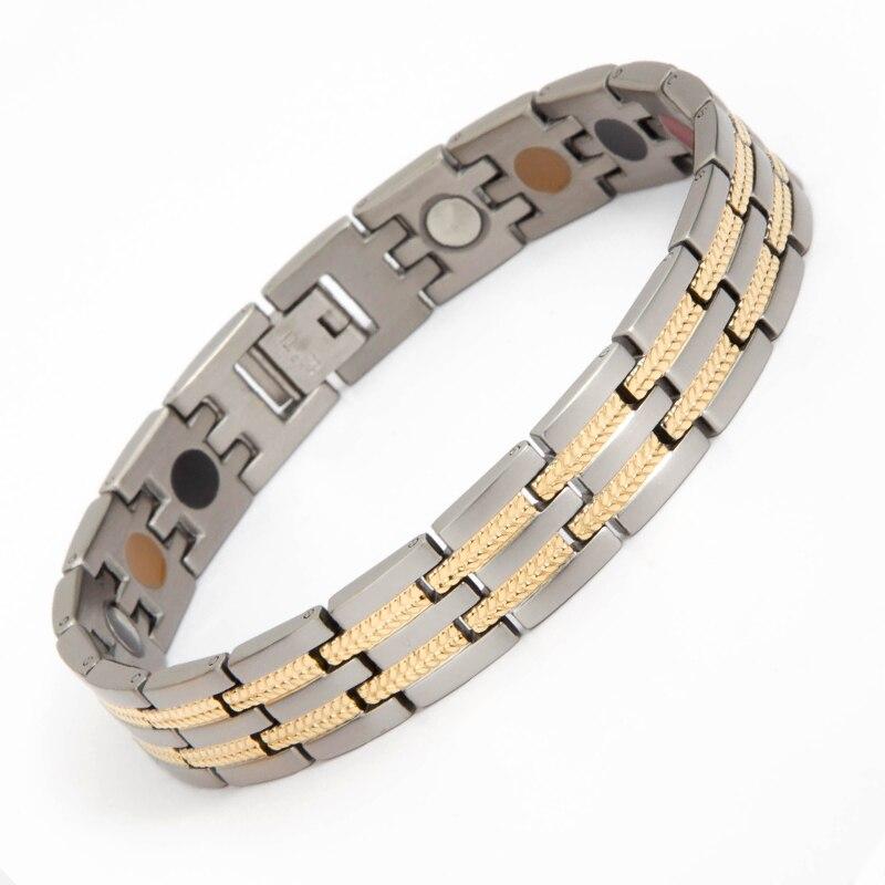 2018 fashion male bracelet bangle silver gold plating man jewelry magnet ion energy Titanium men bracelet magnetic man bangle декоративные украшения gold man rw 13