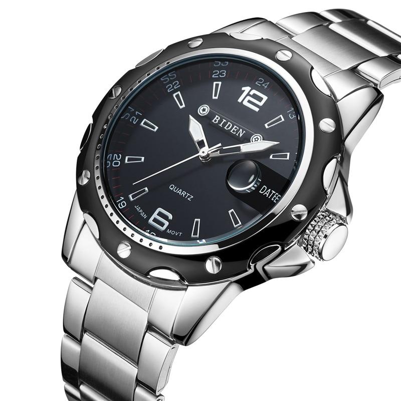 New BIDEN Top Brand Luxury Quartz Watch Men Military Sport Wristwatch Steel Strap Watches Mens Business Clock With Date-0012