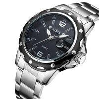 Novo biden topo marca de luxo relógio de quartzo masculino militar esporte relógio de pulso pulseira de aço relógios de negócios dos homens com data 0012 Relógios de quartzo     -