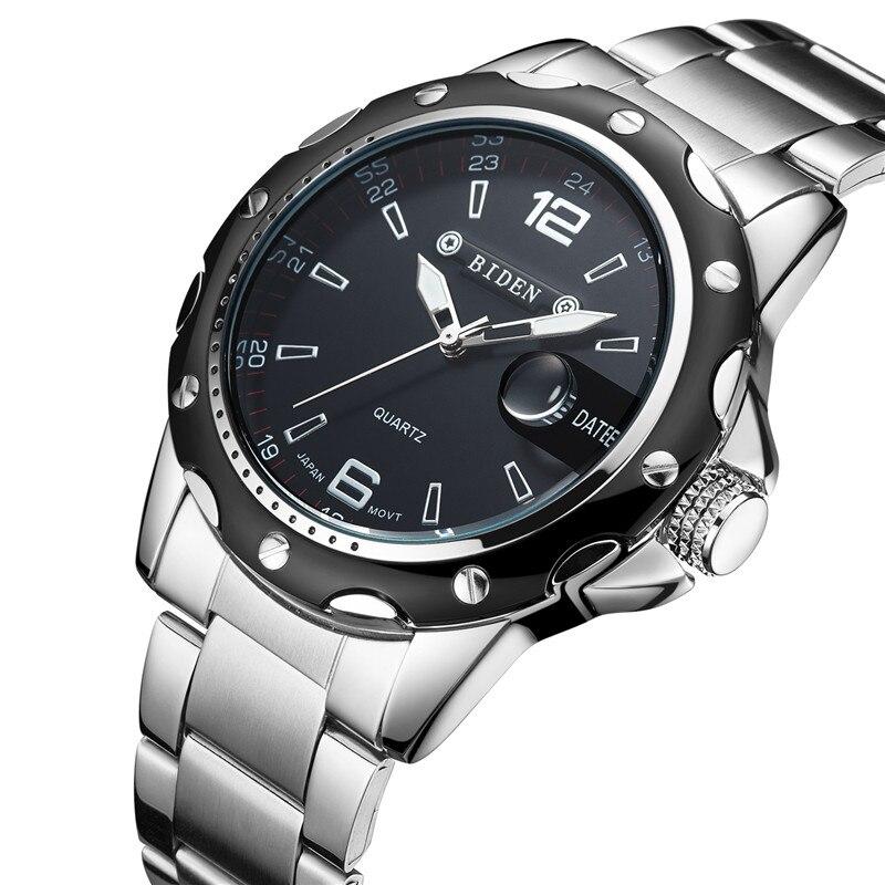 Saatler'ten Kuvars Saatler'de Yeni BIDEN Üst Marka Lüks quartz saat Erkekler Askeri Spor Kol Saati Çelik Kayış Saatler Erkek Iş Saati Tarih ile 0012