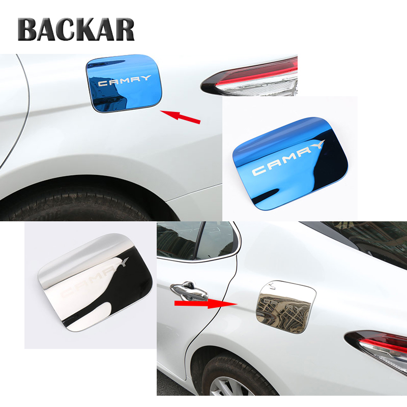 BACKAR Auto Car Styling Stainless Steel Stickers For Toyota Camry XV70 2017 2018 Tank Oil Container Panel Cover Accessories exhaust tips on jaguar xe