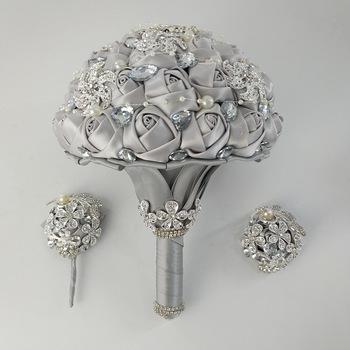 Rhinestone ślubne bukiet Buque De Noiva bukiet De Mariage kwiaty ślubne bukiety ślubne akcesoria ślubne panny młodej bukiet tanie i dobre opinie Bukiet ślubny Poliester PL0012-T LBKKC DRESSES