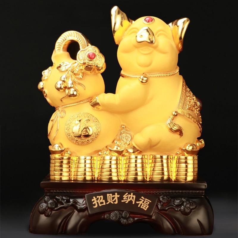 8 Inch 10 InchResin Lucky Golden Pig Figurines Miniature Statues Fairy Garden Piggy Bank Saving Cash Coin Money Box Home Decor