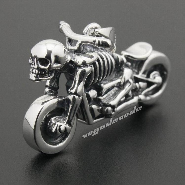 Motorcycle Skull Skeleton 925 Sterling Silver Mens Biker Pendant 8B017(Necklace 24inch) solid 925 sterling silver skull mens biker pendant 8c011 with matching stainless steel necklace