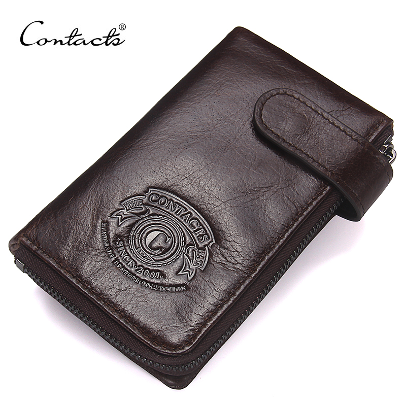 CONTACT'S New Fashion Men Wallet Genuine Leather Purse For Male Luxury Brand Zipper Hasp Wallets with Interior Key Chain Holder  new fashion men wallet pu leather purse handbags for male luxury brand black no zipper men clutches free shipping card holder