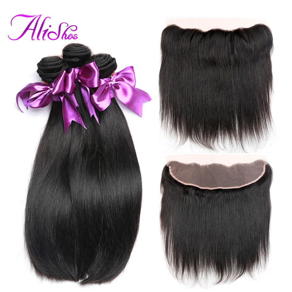 Alishes Hair Straight Hair Bundles With Frontal Non Remy Hair Human Frontal With Bundles Peruvian Hair