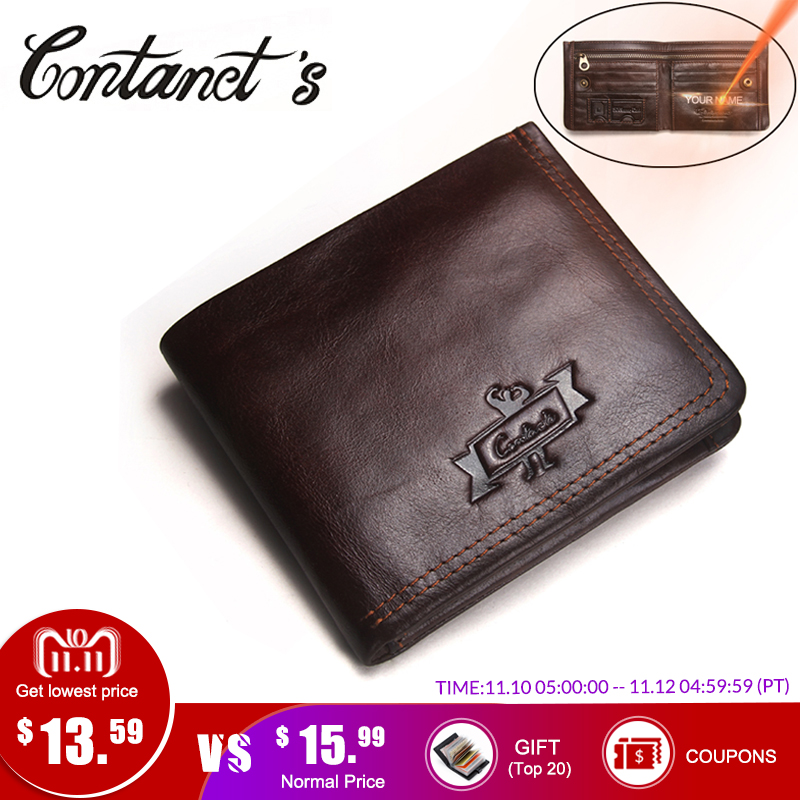 Contact's Genuine Leather Wallet Men Vintage Brand Money Bag Zip Coin Purse Wallets Bifold High Quality Card Holder Dollar Price men wallet genuine leather women card coin holder money clip hot sale short casual high quality photo dollar price male purse