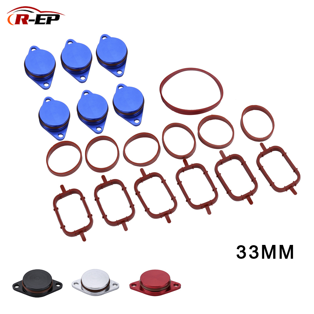 R-EP 6pcs 33mm Diesel Swirl Flap Blanks Replacement Bungs With Intake Manifold Gasket For BMW E46 320d 330d 520d 525d 530d