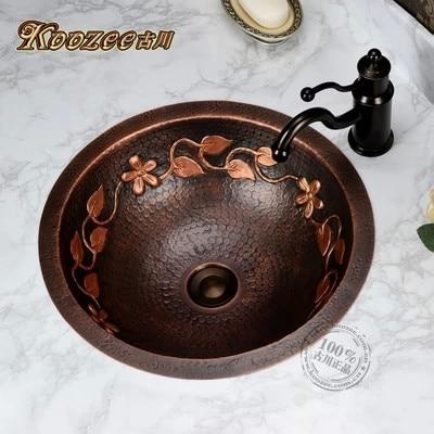 Retro Round copper basin bathroom wash basin bathroom sinkRetro Round copper basin bathroom wash basin bathroom sink