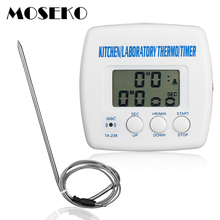 MOSEKO Oven Thermometer Kitchen Food Probe Water Barbecue BBQ Meat Thermometer Timer Alarm Function Digital Thermometer TA-238