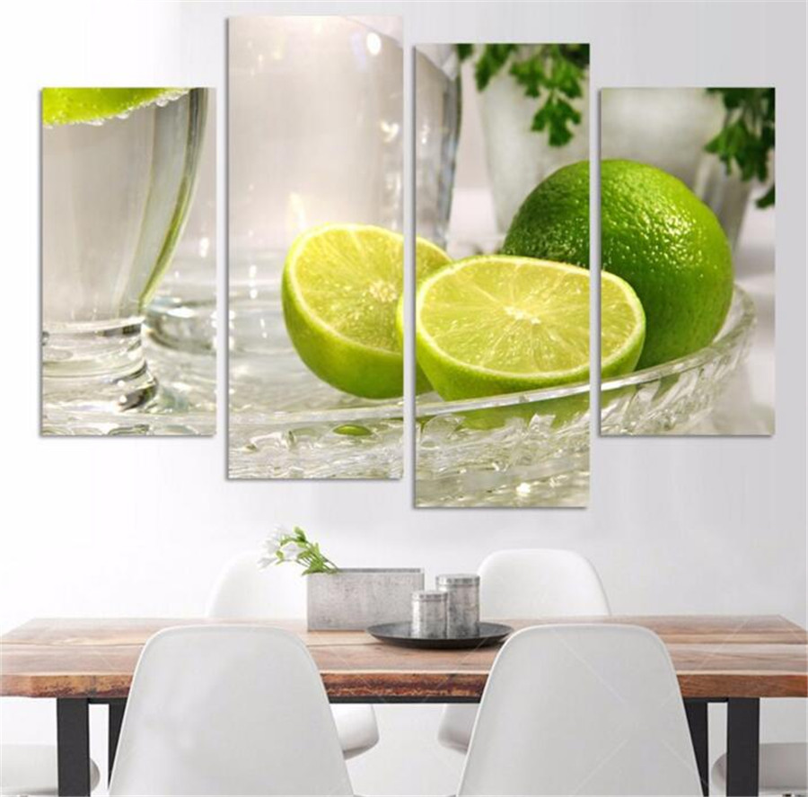 4 Panels Hot Selling Lemon Fruit Green Wall Art Pictures For Kitchen ...