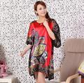 Новый Летний Цветок женщин Ночной Рубашке Халаты Атлас Печатных Свободные Кафтан Пижамы Платье Мода Sexy Вечерние Халаты G19
