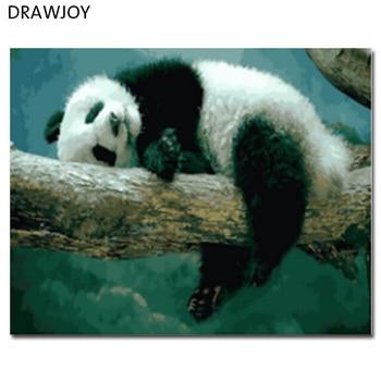 DRAWJOY Çerçeveli Resimler Boyama ve Kaligrafi DIY Boyama By Numbers Panda Yağlıboya Ev Dekor 40*50 cm GX21515
