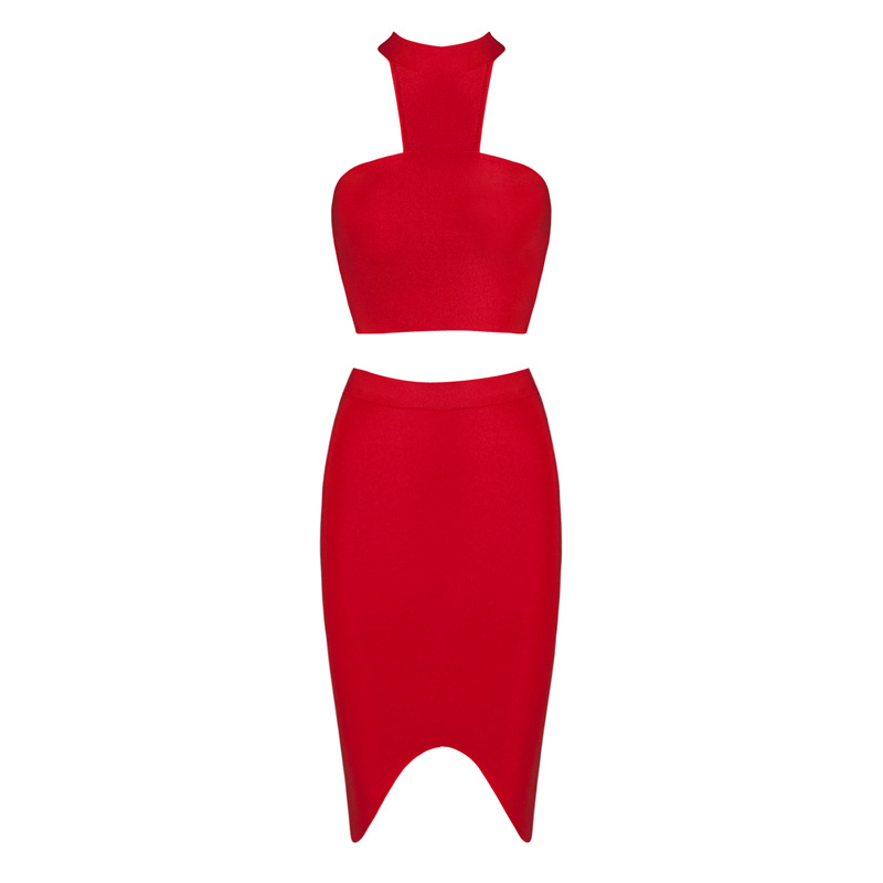 HTB1YtguBZuYBuNkSmRyq6AA3pXas - 2018 Sexy Women Clothing Club Party 2 Piece Sets Fashion Bandage Dress Strapless Short Crop Top Patchwork Knee-Length Skirts