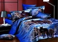 487ac61bbd WARM TOUR 3D Bedding Sets With Flat Sheet Duvet Cover 2 Pillowcases 4 Piece  Blue Wolf