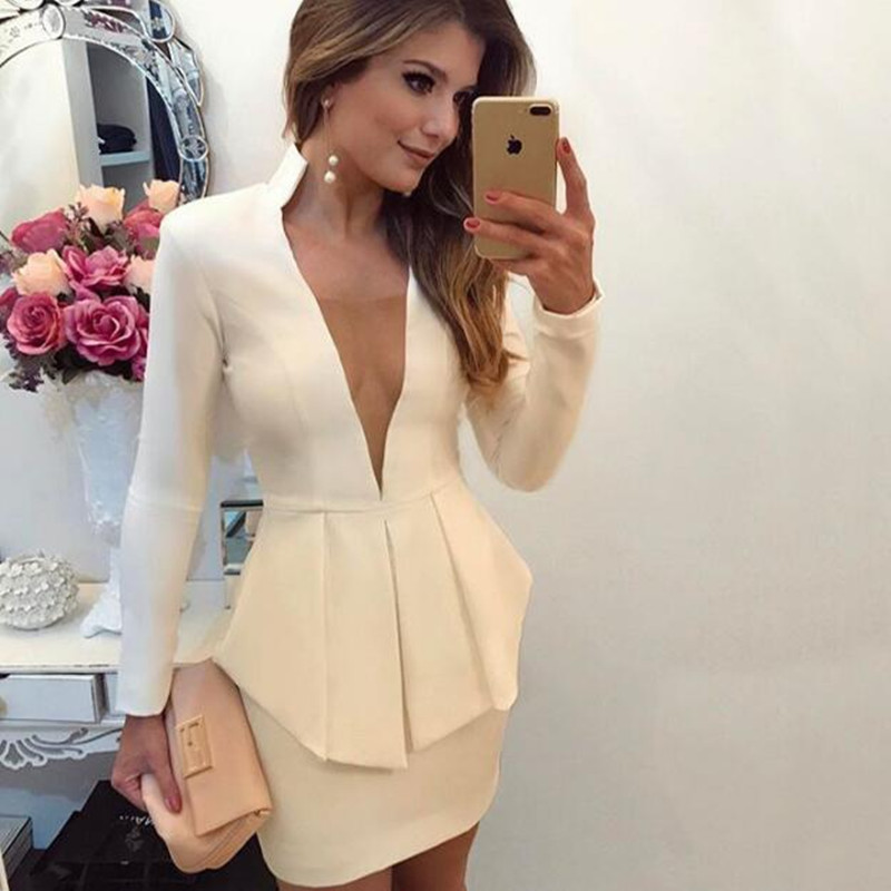Dress Suits Women Elegant Sexy Deep V Neck OL Office Lady Wear 2019 Fake Two Piece Set Female Clothes Work Party Club Outfits