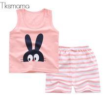 Brand Summer Unisex Newborn Clothes Baby Boy Summer Set Tee Shirts + Shorts Cartoon Clothing Suit