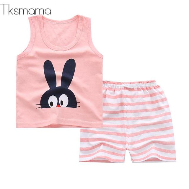 Summer Short Sleeve Baby Girls Clothes Sets Pink Striped Princess Outfits Toddlers Clothing