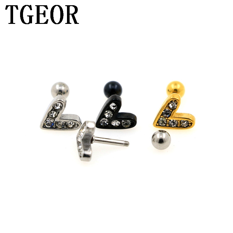 e24b41de3 free shipping Hot 30pcs 16G surgical Stainless Steel V shape gem crystals  titanium plated colors ear tragus piercing earring