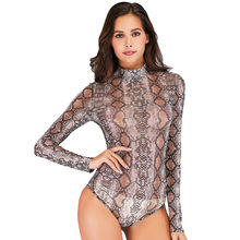 Women Snake Printed Bodysuit Long Sleeve Bodycon Playsuit Slim Party Leotard See-through Bodysuits Clubwear Casual Top Shirts(China)