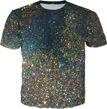 Space Glitter Printed T-Shirt Funny Mens 3d T Shirt Summer Harajuku Hip Hop Tee  Tops 8bb52a0be877