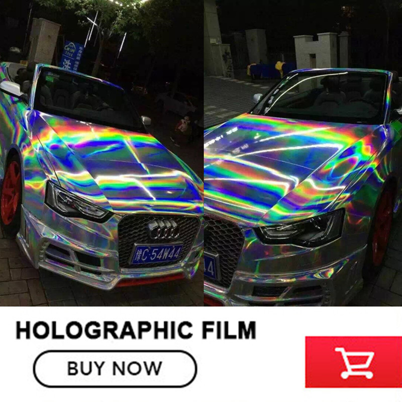 Silver Holographic Chrome Vinyl Film Hologram Stickers With air release Vehicle Styling Laser chrome Size:1.52*20M
