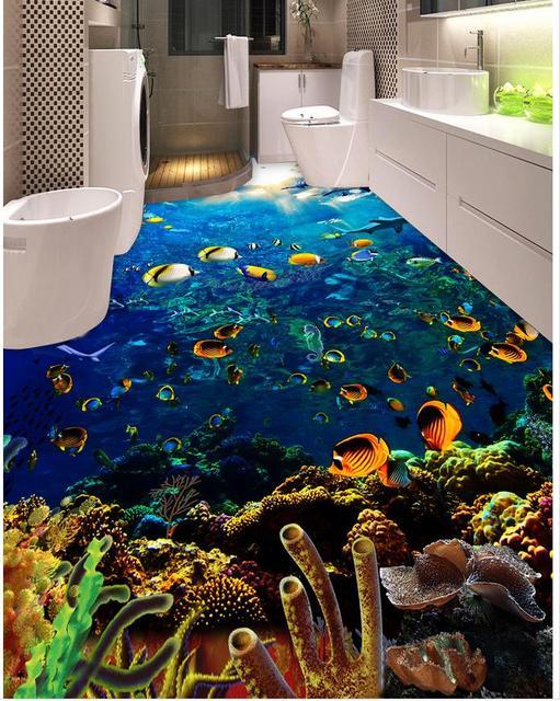 Waterproof floor mural painting sea world dolphin ceiling - Waterproof floor paint for bathrooms ...