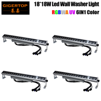 Freeshipping 4 Unit 18 x 18W Led Light Bar IP65 Outdoor Silent/No Noise 6/10 DMX Channels 4 Button LCD Display Separate Case