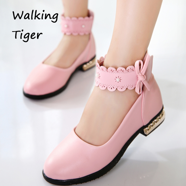 Girls Shoes Leather Kids Wedding Autumn 2017 Girl Fashion Dance Shoe Children Black Pink And White