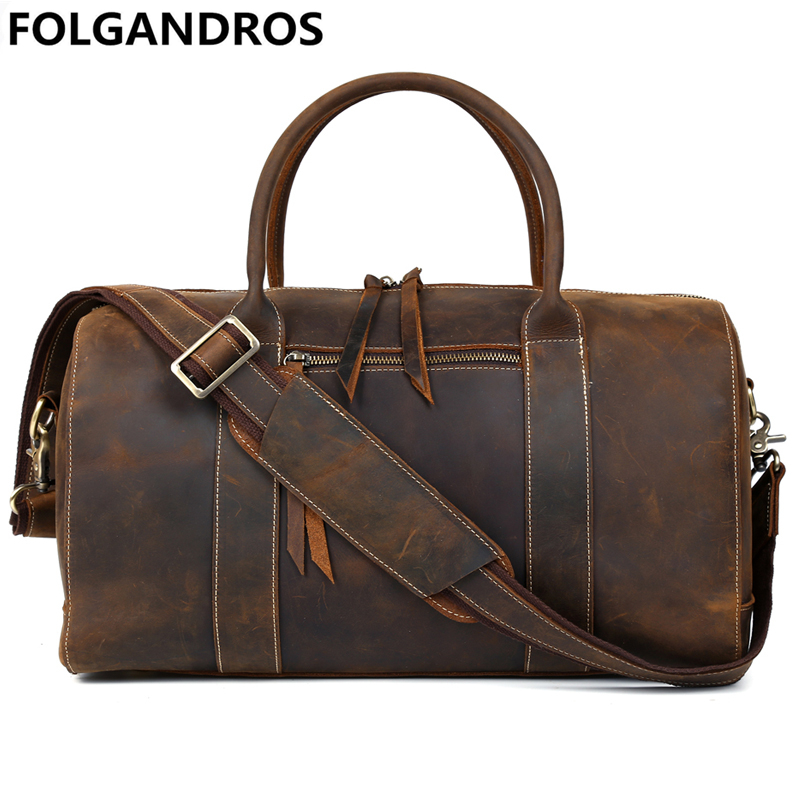 Men Vintage Travel Duffle Bags Genuine Cow Leather Travel Shoulder Bag Cowhide Suitcase Trip Portable Duffle Tote for Man Bolsa aosbos fashion portable insulated canvas lunch bag thermal food picnic lunch bags for women kids men cooler lunch box bag tote
