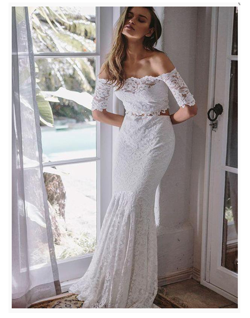 Lace Beach Wedding Dress Mermaid White 2 Pieces Boat neck Elegant Wedding Gowns 2018 Simple Mermaid
